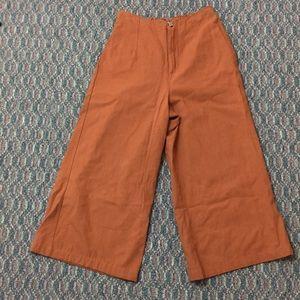 Pants - Rust Cropped Wide Leg Pants